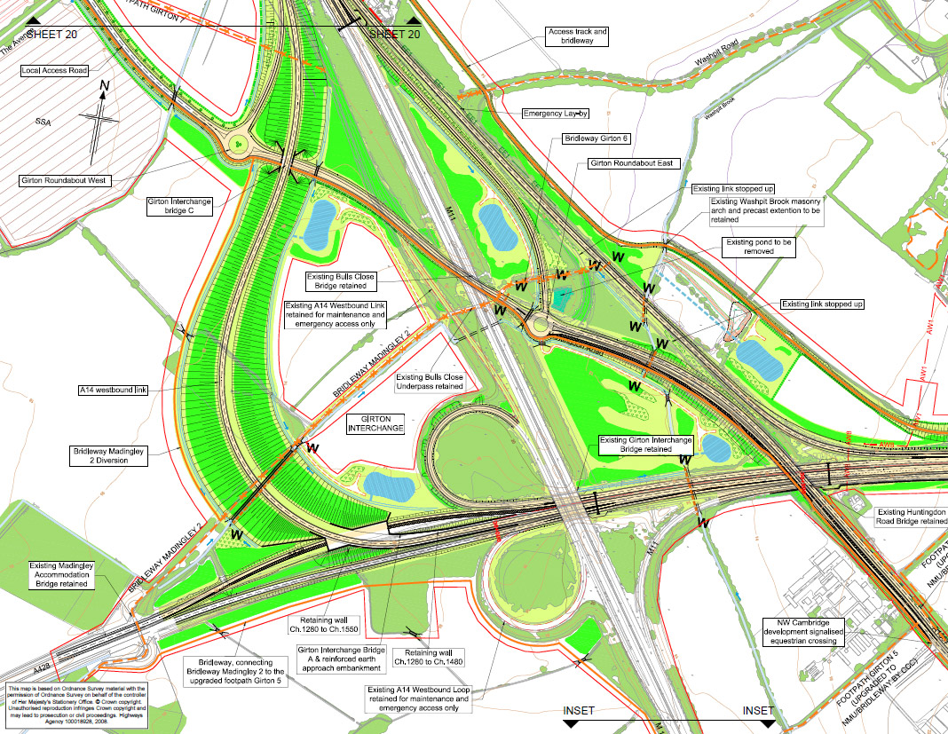 Sheet 21 (Girton Interchange) from Highways England plans