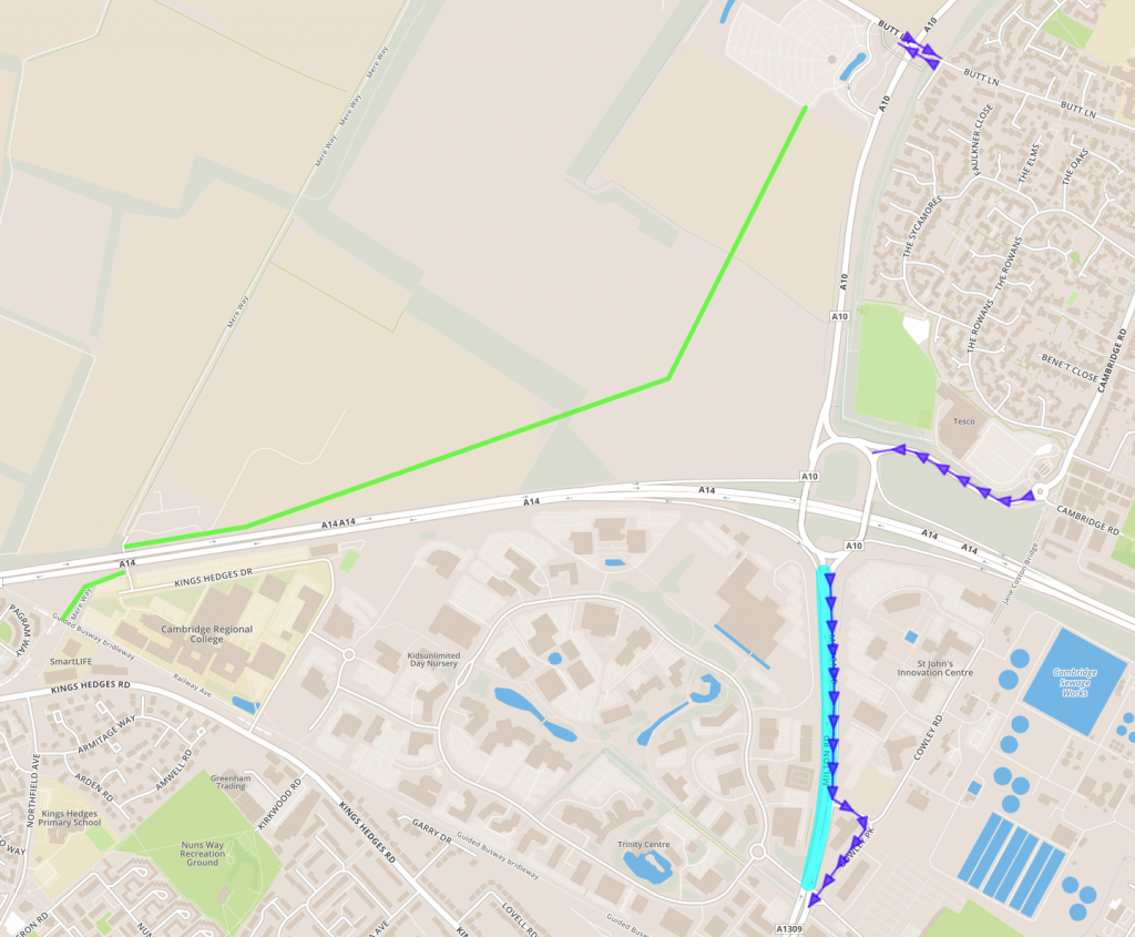 Bus priority (purple) on Butt Lane and between Tesco roundabout and A14 interchange, and cycle path from P&R site via 'spare' tunnel under A14 to Orchard Park junction on Guided Busway