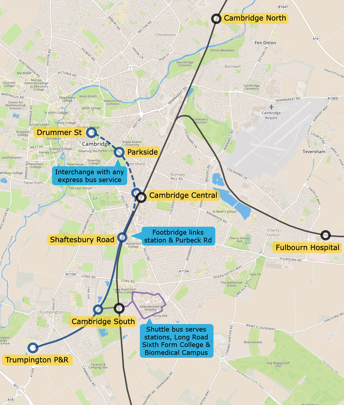 Map of Cambridge mini metro