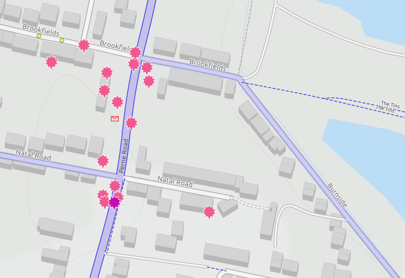 Map showing reported collisions