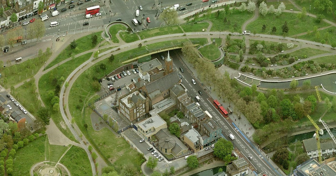 Aerial view of Mile End Road