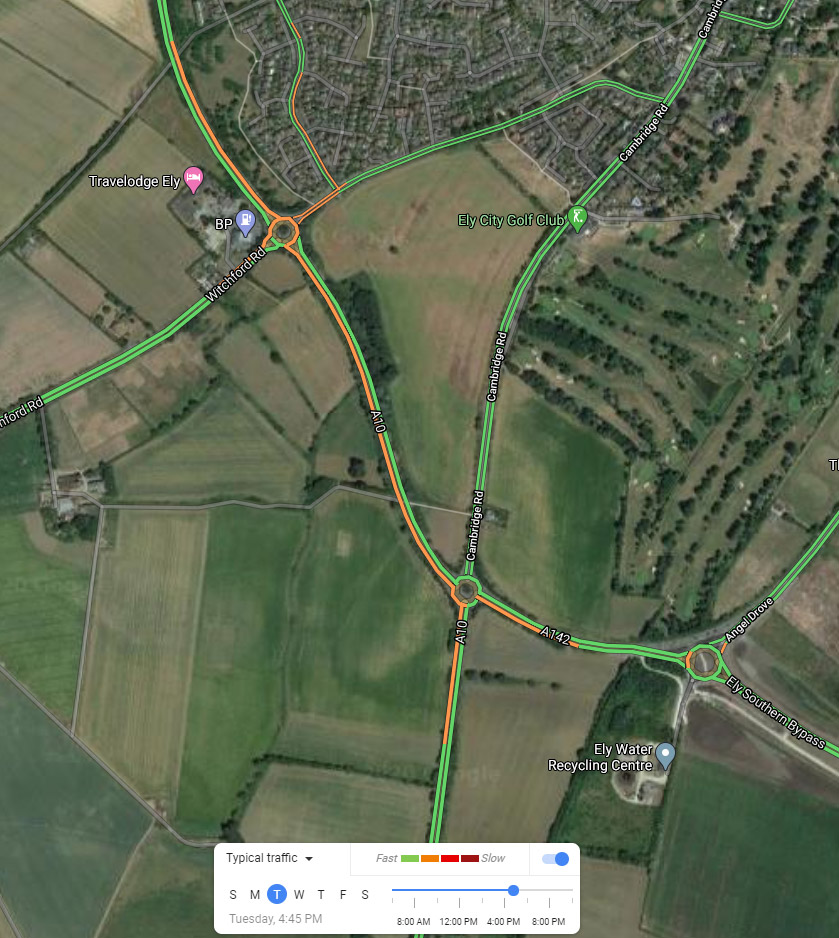 Congestion around that A10 and A142 in the evening peak