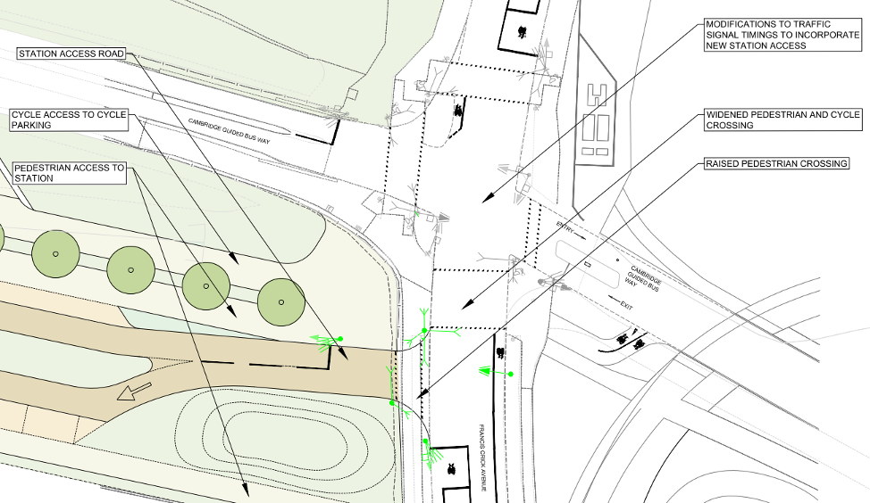 Network Rail proposed design for the station access road junction with Francis Crick Avenue