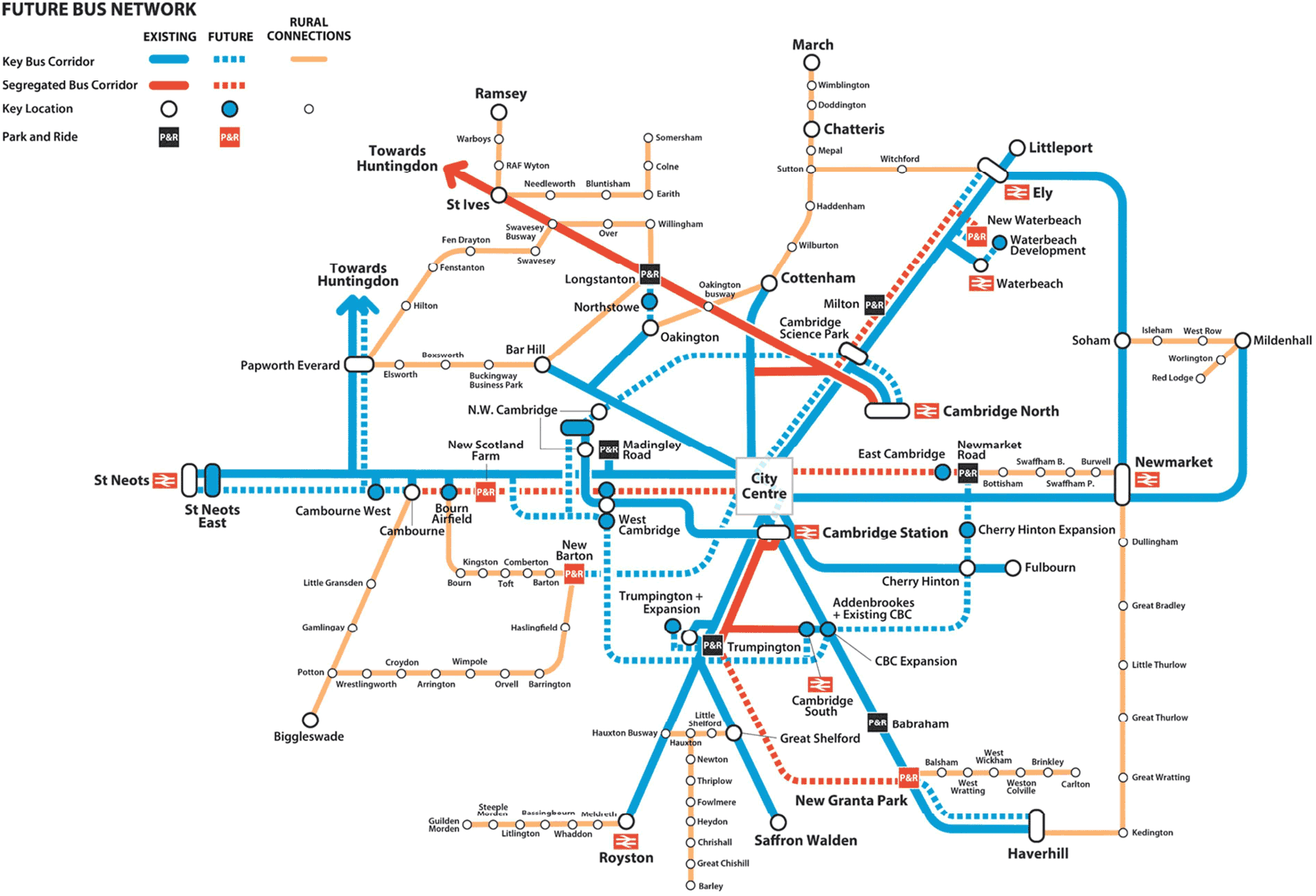 Greater Cambridge Partnership's proposed Future Bus Network